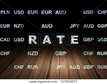 Currency concept: Glowing text Rate in grunge dark room with Wooden Floor, black background with Currency