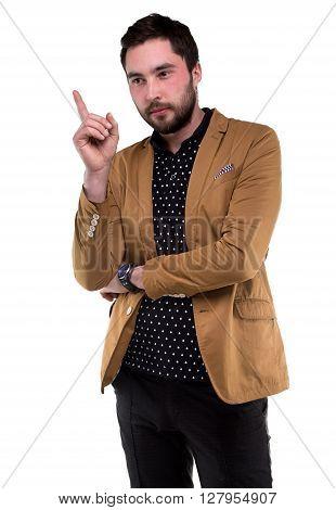 Bearded thinking man with forefinger on white background