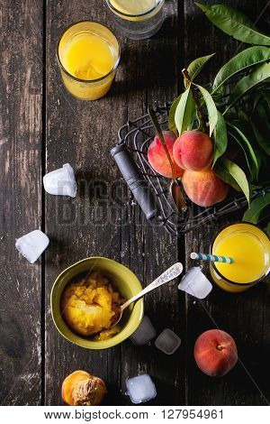 Peaches, Juice And Sorbet