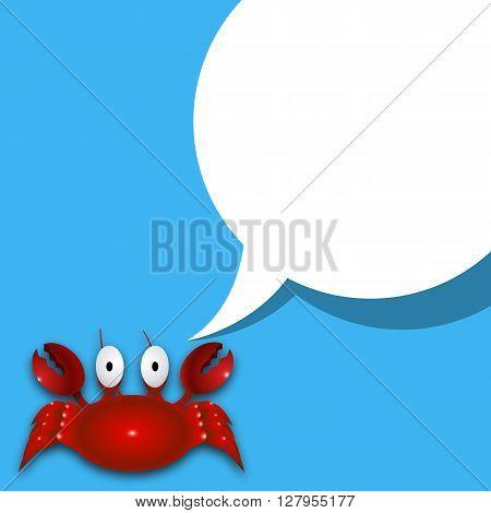 Crab and speech, vector art illustration dialog.