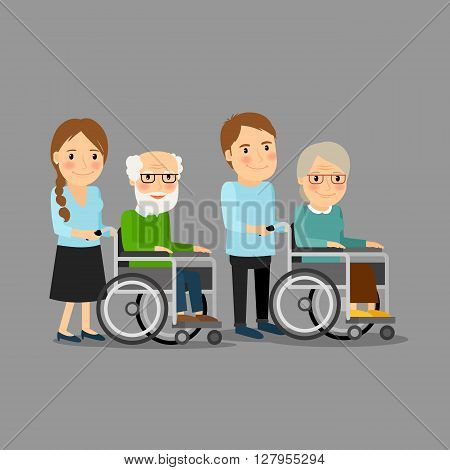 Social worker strolling wheelchair with elderly man and woman. Social care vector illustration