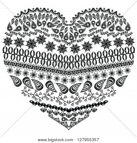 Tribal entangle Aztec heart shape with floral elements in hand drawing lace ornamental style in black white