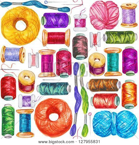 Seamless watercolor pattern of various sewing bobbins with thread and needles. Sewing accessories and equipment for sewing. Tools for needlework