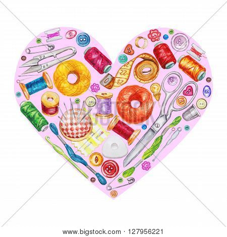 Heart from various watercolor sewing tools. Sewing kit accessories and equipment for sewing. Tools for needlework. Scissors buttons bobbins with thread and needles