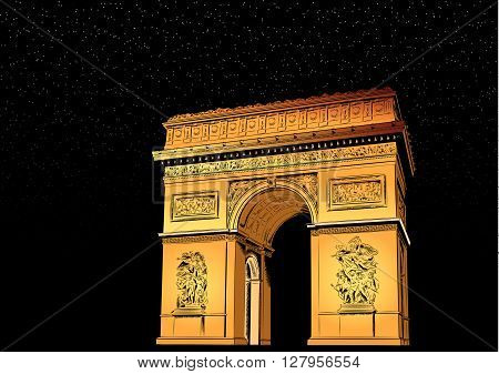 Arch of Triumph at night. vector architecture monument
