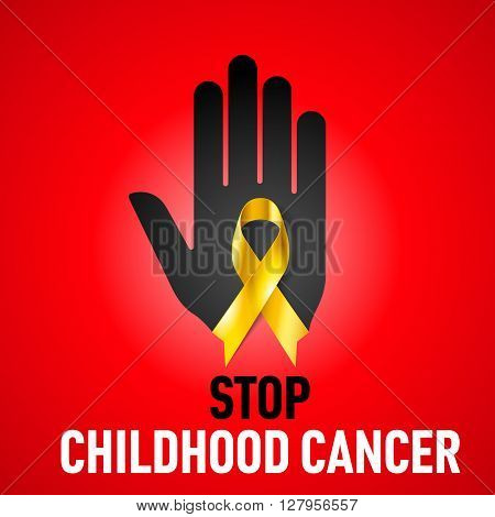 Stop Childhood Cancer sign. Black hand with yellow ribbon on red background