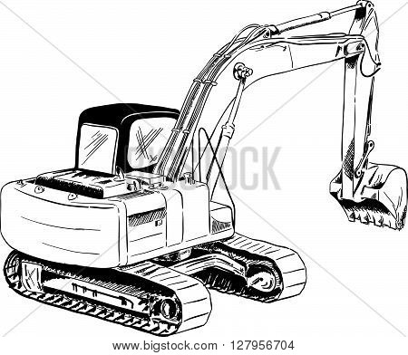 vector black sketch of big excavator isolated on the white