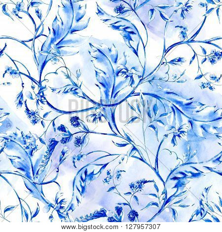 Blue watercolor flower vintage seamless pattern with branches and leaves, natural wallpaper, floral decoration curl illustration