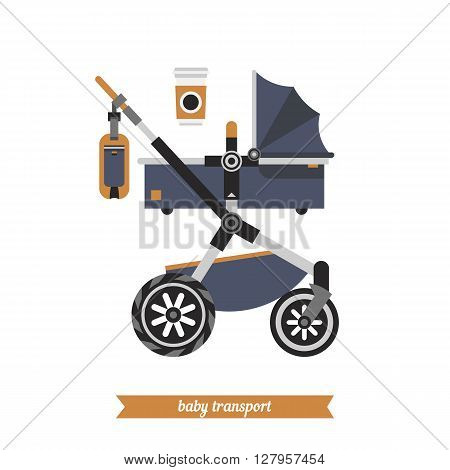 Reclining stroller for newborns. Baby carriage. Vector baby transport baby and childhood. Vector baby stroller and baby walking stuff.