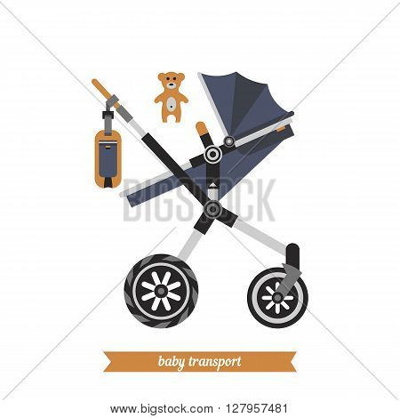 Sitting stroller. Baby carriage. . Vector baby stroller and baby walking stuff. Walk with baby.