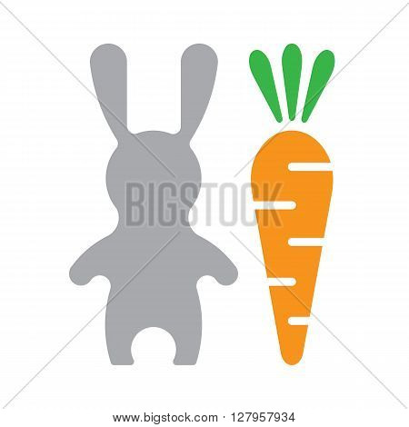 Vector Happy Easter card. Adorable vector Easter Rabbit esolated on white background. Vector Easter Hare with ballon. Hare and carrot. Happy Easter illustration in flat style.