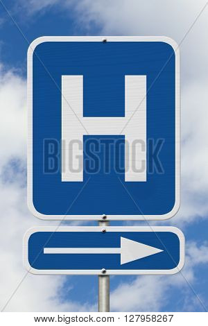 This way to the Hospital Sign A blue road sign with Capital H with sky background, 3D Illustration