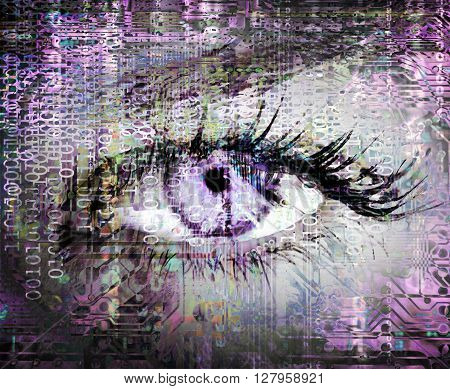 Purple cybernetic eye with circuit texture and binary code.