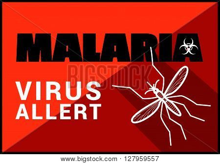 malaria virus allert flat vector outline illustration.
