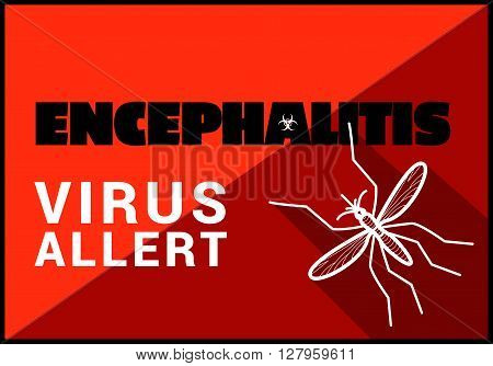 Encephalitis virus allert flat vector outline illustration.