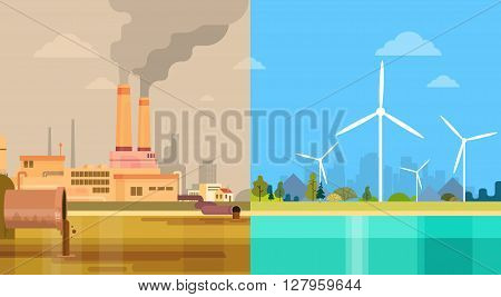 Clean And Polluted Dirty City Environmental Green Energy Concept Wind Turbine Flat Vector Illustration