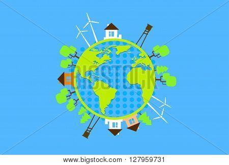Green Earth Globe Silhouette Wind Turbine Flat Vector Illustration