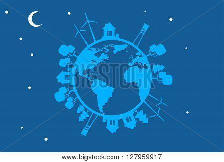 Night Earth Globe Silhouette Wind Turbine Flat Vector Illustration