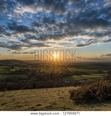 Beautiful Landscape Image Of Sunset Over Countryside Landscape In England