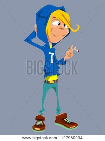cartoon smiling teenager standing with a cigarette