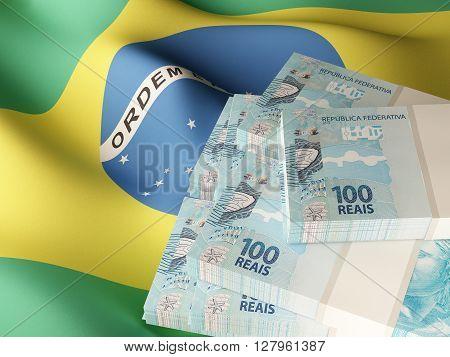 Brazilian real banknote bundles on textile textured Brazil flag. 3d rendering.