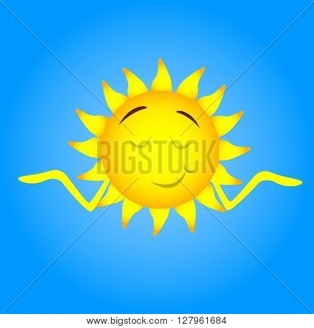 Sun Face Cartoon Character Smile, Closed Eyes, Shrug Shoulders Flat Vector Illustration