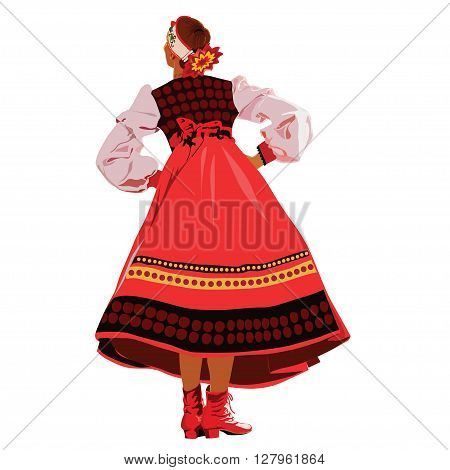 The girl in national costume dancing on hollyday
