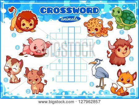 Educational game for kids. Word puzzle. Worksheet for class or at home with the kids. A4 size. Horizontal orientation.