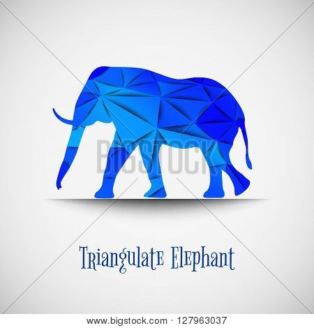 Vector Blue Triangulate Elephant.