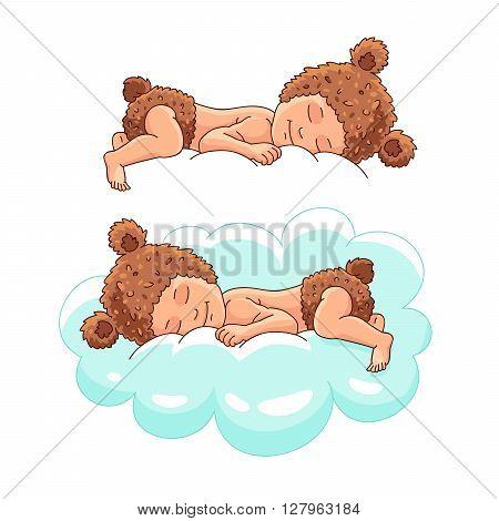 Kid in hat bear sleeping on a cloud. Vector illustration on white background. Sweet baby sleep. Beautiful kid.