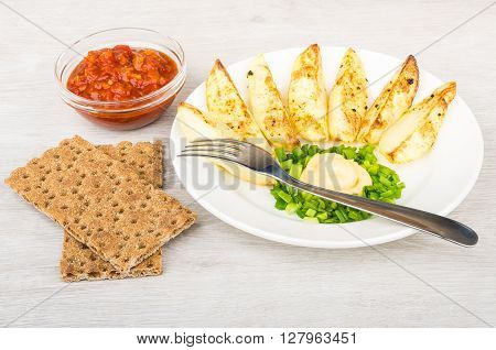 Slices Of Baked Potatoes With Mayonnaise And Leek, Crispbread, Ketchup