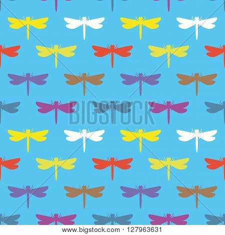 Pattern for seamless background colorful dragonflies on a blue background.