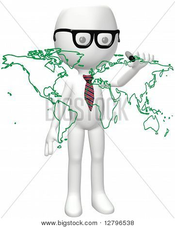 Smart Global Person Marker Drawing World Map