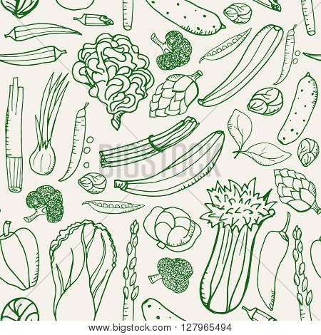 Seamless pattern with hand drawn green vegetables on beige background. Texture green outline vegetables. Doodle pattern vegetables