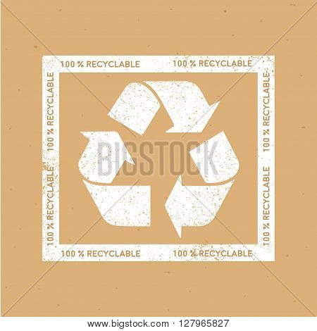 Recycle sign on kraft background. Vector shabby sign recycle