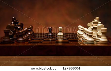 chess game with pieces on the table close up