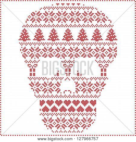Scandinavian Nordic winter stitching  knitting  christmas pattern in  in sugar skull  shape including snowflakes, hearts xmas trees christmas presents, snow, stars, decorative ornaments on white background
