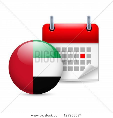 Calendar and round flag icon. National holiday in United Arab Emirates