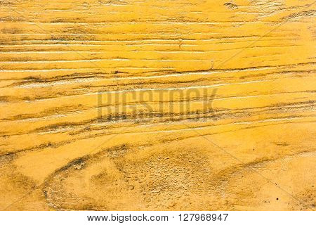 closeup of grunge yellow painted rough wood background