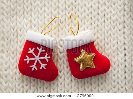 Christmas stocking on white background for greeting card