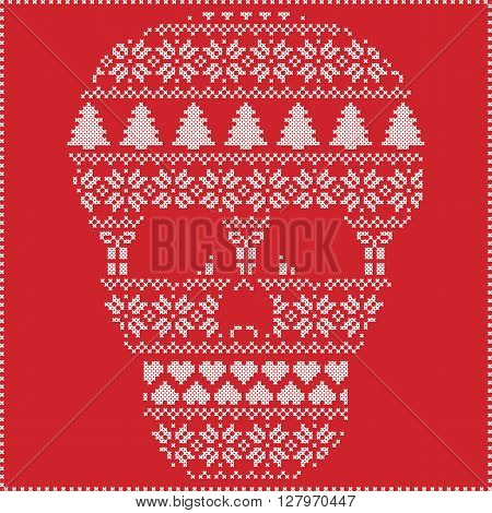 Scandinavian Nordic winter stitching  knitting  christmas pattern in  in sugar skull  shape including snowflakes, hearts xmas trees christmas presents, snow, stars, decorative ornaments on red