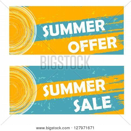 summer offer and sale banners - text and sun sign in yellow blue drawn labels business seasonal shopping concept
