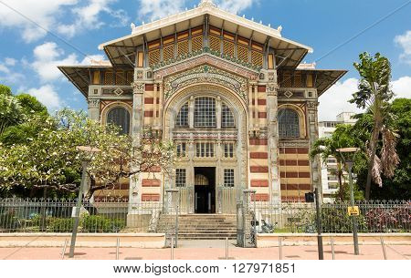 Fort de France; French West Indies-April 28, 2016: The Schoelcher library this building was first erected in Paris than transported and rebuilt in Fort de France West Indies in 1893.