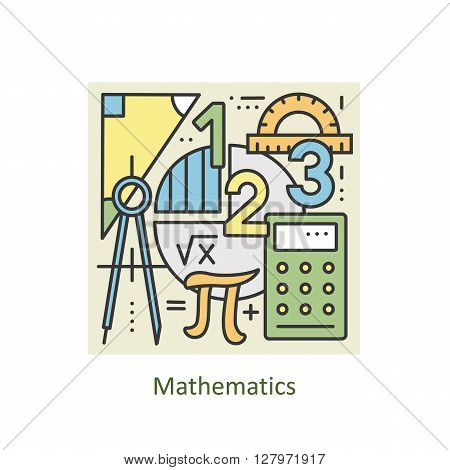 Modern color thin line concept of mathematics for school, university and training. Art design vectors collection, Flat Style. Logo Concepts  for Trendy Designs.  Vector line background.