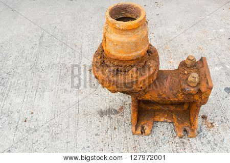 Old sewage pump and rust corrosion, Suction pump.