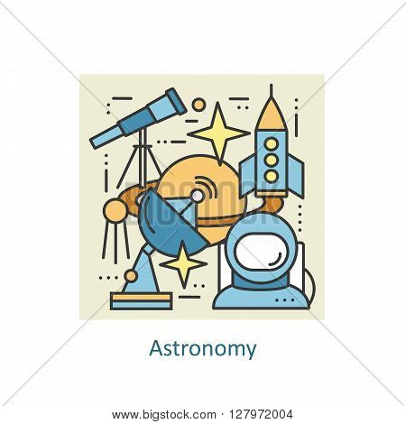Modern color thin line concept of astronomy and space. Art design vectors collection, Flat Style. Logo Concepts  for Trendy Designs. Vector line background.