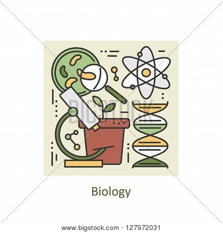 Modern color thin line concept of biology for school, university and training. Art design vectors collection, Flat Style. Logo Concepts  for Trendy Designs. Vector line background.