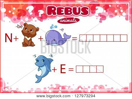 Educational rebus game for kids. Worksheet for class or at home with the kids. A4 size. Horizontal orientation.
