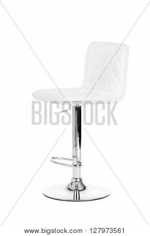 White leather modern bar Chair isolated over white background