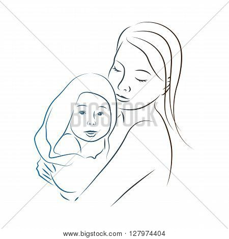 Mother and baby silhouette.Mother holds the child on hands.Hand drawn.Baby with towel.Mother hugging a child. Vector illustration